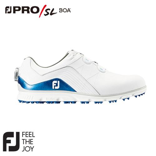 FOOTJOY【フットジョイ】NEW PRO/SL Boa メンズ ゴルフシューズ #53291 ホワイト/ブルー (W) 2018