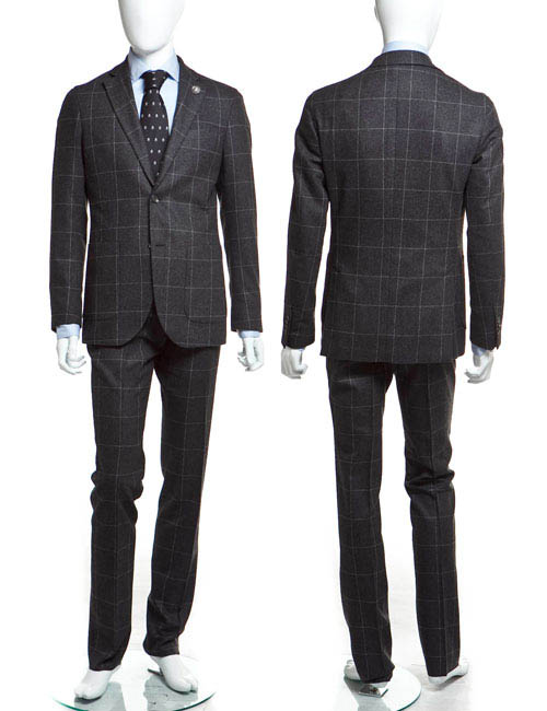 ハイドロゲン HYDROGEN スーツ 2つボタン シングル サイドベンツ メンズ 110302 グレー×ホワイト HYD値下 【ラッキーシール対応】