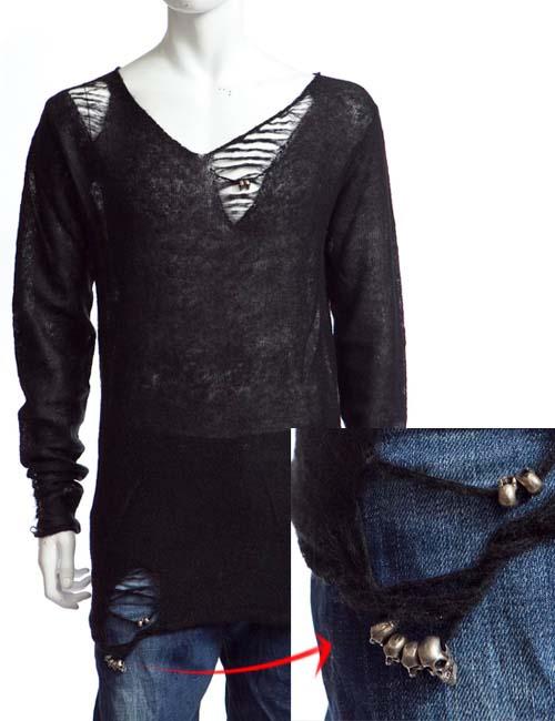バッドスピリット BAD SPIRIT 長袖セーター メンズ 1553 ブラック 送料無料 楽ギフ_包装 アウトレット 目玉商品17AW 【ラッキーシール対応】