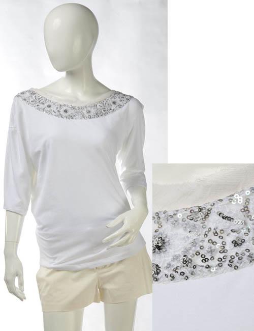エルマンノシェルビーノ ERMANNO SCERVINO Tシャツ レディース D142L029CYL ホワイト 送料無料 楽ギフ_包装 アウトレット G-SALE 【ラッキーシール対応】
