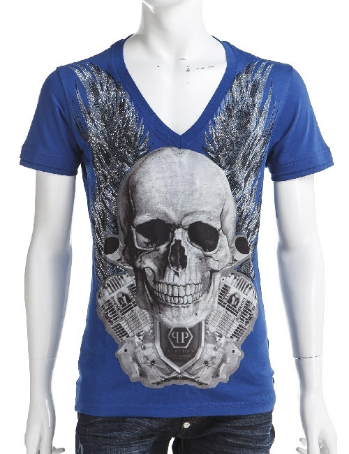 フィリッププレイン PHILIPP PLEIN Tシャツ 半袖 Vネック メンズ SS15 HM345321 MIDDLEBLUE 送料無料 楽ギフ_包装 一押値下 【ラッキーシール対応】