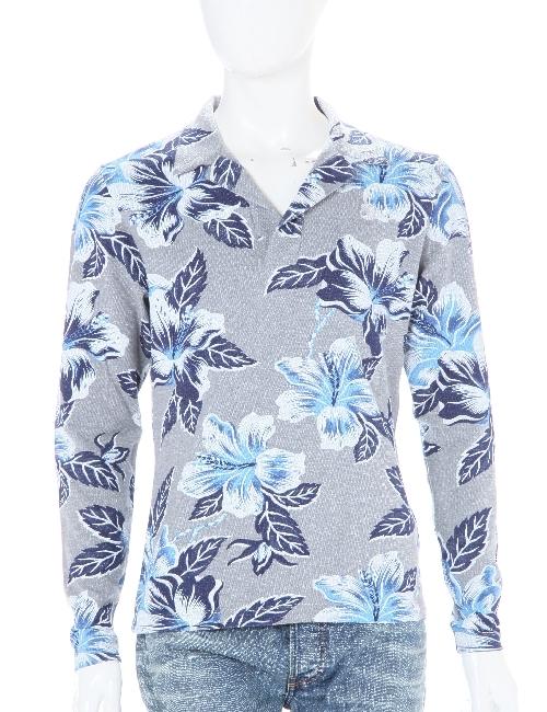 ハイドロゲン HYDROGEN ポロシャツ ハイドロゲン 長袖 ハイドロゲン メンズ 160011 BLUE FLOWERS GREY ハイドロゲン HYDROGEN 【ラッキーシール対応】