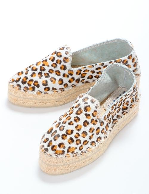 マネビ MANEBI シューズ スリッポン 靴 レディース J21D00 ホワイトXレオパード 送料無料