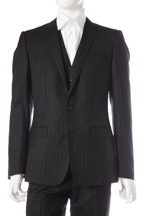 ドルガバ ドルチェ&ガッバーナ DOLCE&GABBANA 3ピーススーツ 2つボタン センターベント シングル メンズ G1UGMT FR2RP ダークグレイ 送料無料 アウトレット 【ラッキーシール対応】