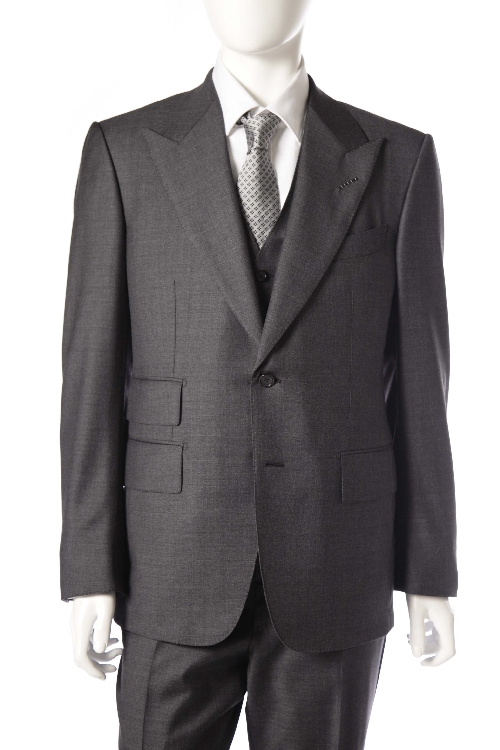トムフォード TOM FORD 3ピーススーツ 2つボタン サイドベンツ シングル メンズ T22R01 31AL43 C グレー 送料無料 アウトレット 【ラッキーシール対応】
