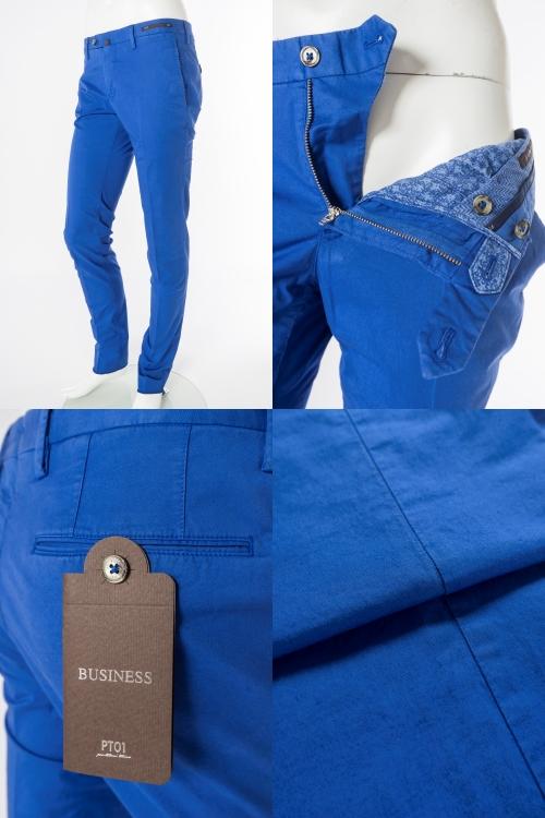 f53cf8deda353c ピーティー【PT01】パンツ/チノパン/Style:BUSINESS/STRETCH/SUPER SLIM FIT 【カラー】ブルー【素材】コットン:86%  リネン:10% エラスタン:6%