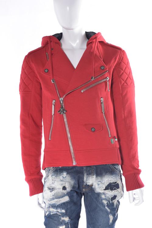 フィリッププレイン PHILIPP PLEIN ブルゾン ライダースジャケット sweat jacket ferry pass メンズ FW16 HM661298 レッド 送料無料 SALE16AW2 【ラッキーシール対応】