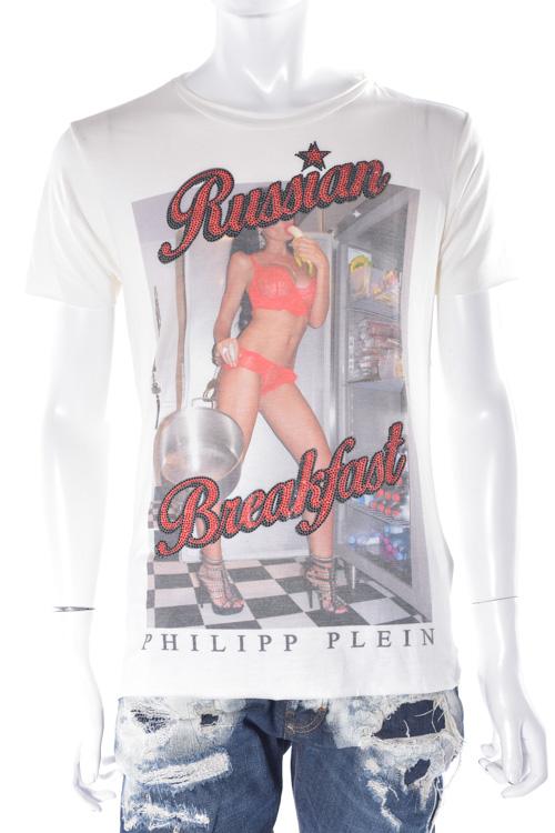 フィリッププレイン PHILIPP PLEIN Tシャツ 半袖 丸首 t-shirt breakfast メンズ FW16 HM340994 ホワイト 送料無料 楽ギフ_包装 SALE16AW2 【ラッキーシール対応】