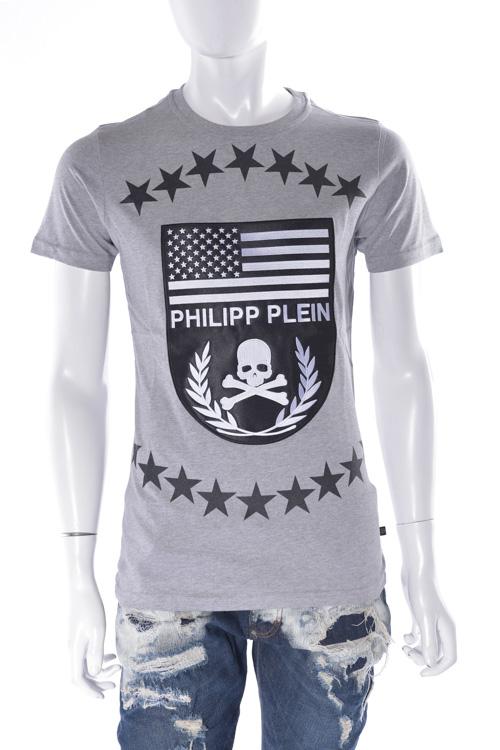 フィリッププレイン PHILIPP PLEIN Tシャツ 半袖 丸首 t-shirt go big メンズ FW16 HM340985 グレー 送料無料 楽ギフ_包装 SALE16AW2 【ラッキーシール対応】