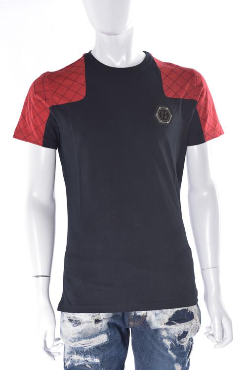 フィリッププレイン PHILIPP PLEIN Tシャツ 半袖 丸首 t-shirt russian roulette メンズ FW16 HM341030 ブラック×レッド 送料無料 楽ギフ_包装 SALE16AW2 【ラッキーシール対応】