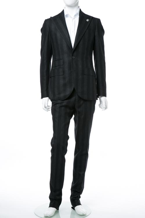 ハイドロゲン HYDROGEN スーツ 2つボタン サイドベンツ シングル メンズ 190304 ブラック×グレー 送料無料 【ラッキーシール対応】