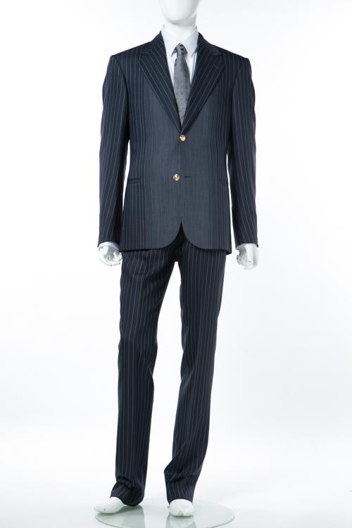 ヴェルサーチ VERSACE スーツ 2つボタン センターベント ストライプ メンズ A65171 A209891 ネイビー 送料無料 アウトレット G-SALE 【ラッキーシール対応】