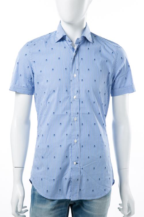 ハイドロゲン HYDROGEN シャツ 半袖 メンズ 140409 ブルー 送料無料 楽ギフ_包装 アウトレット HYD大量入荷 【ラッキーシール対応】