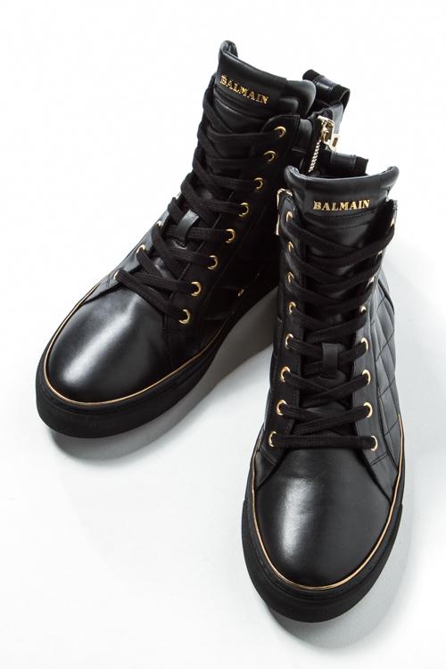 2016年秋冬新作 バルマン BALMAIN スニーカー ハイカット シューズ 靴 メンズ W6HT324D649 ブラック 送料無料 SALE16AW2 【ラッキーシール対応】