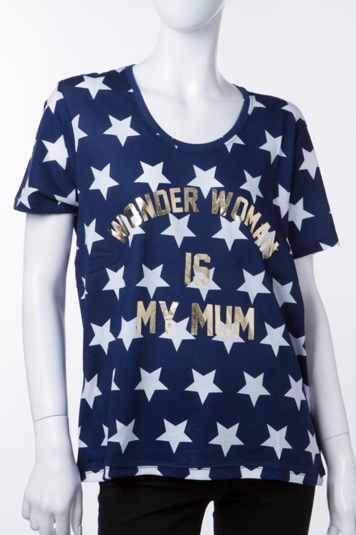イレブンパリ ELEVEN PARIS Tシャツ 半袖 丸首 16F2 TS167 WONDGIRL レディース WONDGIRL W ネイビー 送料無料 楽ギフ_包装