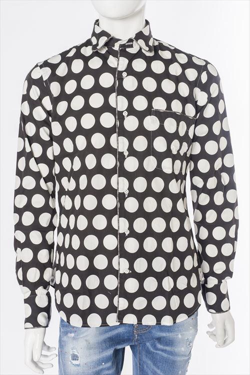 ガブリエレパジーニ GABRIELE PASINI シャツ 長袖 メンズ G6CM8 G6221 ホワイト×ブラック 送料無料 楽ギフ_包装 2016SS_SALE 【ラッキーシール対応】