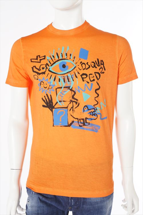 ディースクエアード DSQUARED2 ディースクエアード Tシャツ 半袖 丸首 メンズ S71GD0209S21600 オレンジ 送料無料 楽ギフ_包装 【ラッキーシール対応】