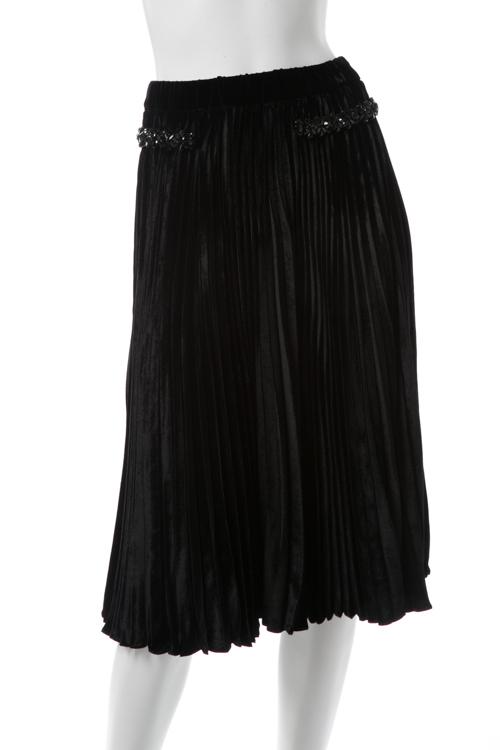 ヌメロヴェントゥーノ N°21 スカート プリーツスカート ベロア レディース C153 5047 ブラック 送料無料 楽ギフ_包装 2017AW_SALE