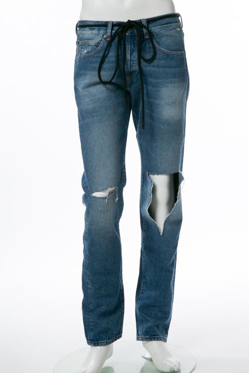 オフホワイト OFF-WHITE ジーンズパンツ クラッシュデニム SLIM FIT メンズ OMCE012F 386068 ブルー 送料無料 楽ギフ_包装 【ラッキーシール対応】