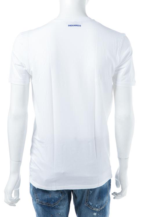 ディースクエアード DSQUARED2 Tシャツアンダーウェア Tシャツ 半袖 Vネック メンズ D9M450590 ホワイト×ブルー 送料無料 楽ギフ_包装 【ラッキーシール対応】