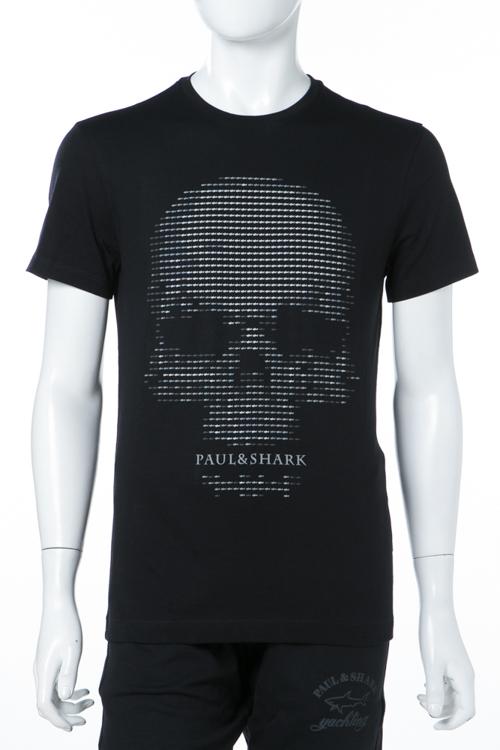 ポールアンドシャーク PAUL&SHARK Tシャツ 半袖 丸首 メンズ E18P1157SF ブラック 送料無料 楽ギフ_包装 2018年春夏新作 【ラッキーシール対応】