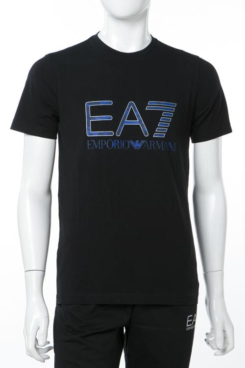 アルマーニ エンポリオアルマーニ Emporio Armani EA7 Tシャツ 半袖 丸首 メンズ 3ZPT84 PJM5Z ブラック 送料無料 楽ギフ_包装 【ラッキーシール対応】