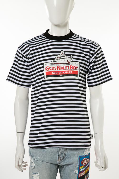 ジーシーディーエス GCDS Tシャツ 半袖 丸首 メンズ SS18M020068 ブラック×ホワイト 送料無料 楽ギフ_包装 2018年春夏新作 【ラッキーシール対応】