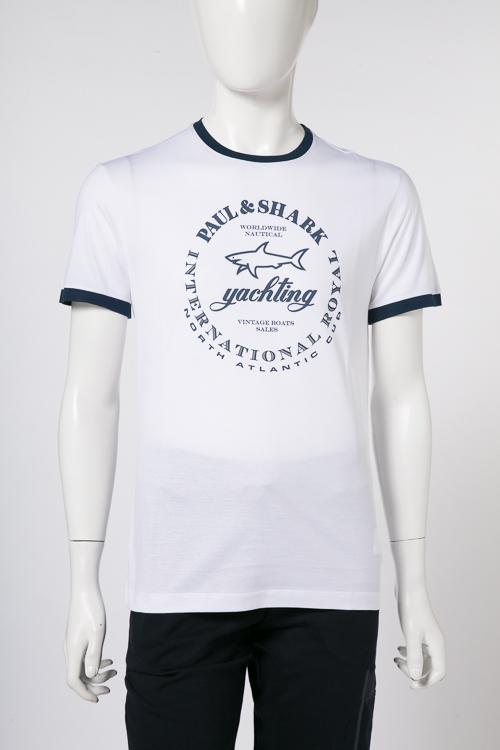 ポールアンドシャーク PAUL&SHARK Tシャツ 半袖 丸首 メンズ E18P1019SF ホワイト 送料無料 楽ギフ_包装 2018年春夏新作 【ラッキーシール対応】