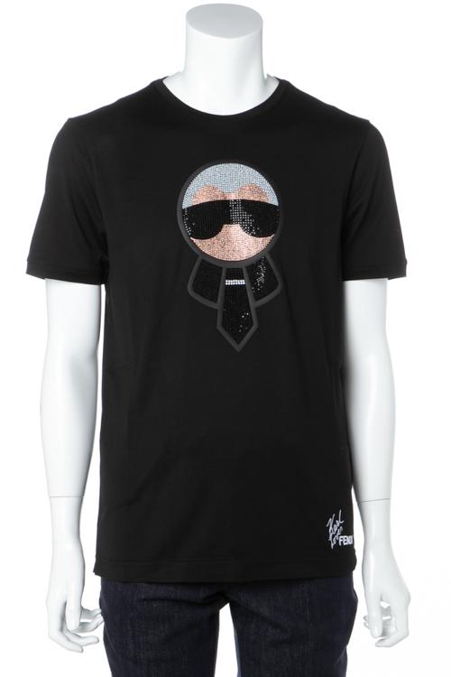 フェンディー FENDI Tシャツ 半袖 丸首 メンズ FY0626 1YN ブラック 送料無料 楽ギフ_包装 ラッキーシール対応