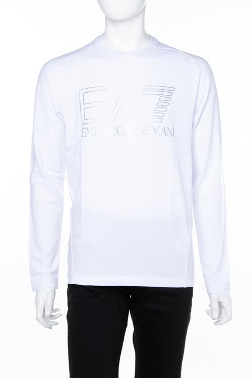 アルマーニ エンポリオアルマーニ Emporio Armani EA7 ロングTシャツ ロンT 長袖 丸首 クルーネック メンズ 6ZPT05 PJ04Z ホワイト 送料無料 楽ギフ_包装 ラッキーシール対応