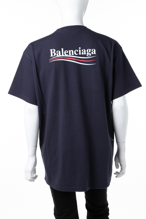 バレンシアガ BALENCIAGA Tシャツ 半袖 丸首 クルーネック メンズ 508203 TBV42 ネイビー 送料無料 楽ギフ_包装 2018年秋冬新作 ラッキーシール対応