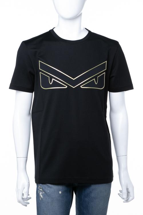 フェンディー FENDI Tシャツ 半袖 丸首 クルーネック メンズ FAF532 A54Q ブラック 送料無料 楽ギフ_包装 ラッキーシール対応 2018年秋冬新作