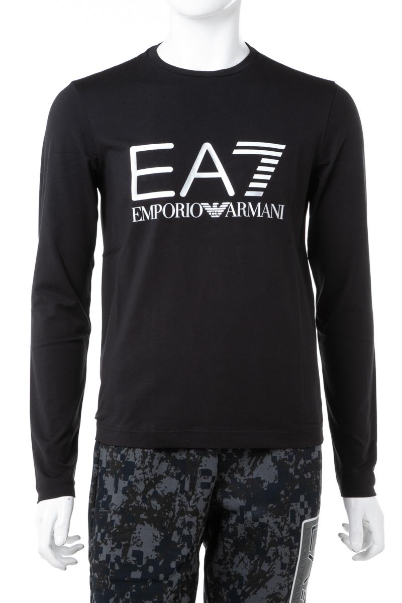 アルマーニ エンポリオアルマーニ Emporio Armani EA7 ロングTシャツ ロンT 長袖 丸首 クルーネック メンズ 6ZPT22 PJ20Z ブラック 送料無料 楽ギフ_包装 ラッキーシール対応