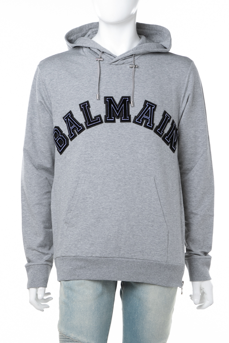バルマン BALMAIN トレーナー プルオーバーパーカー フーディ スウェット メンズ W8H 6642J 191B グレー 送料無料 楽ギフ_包装 ラッキーシール対応 2018年秋冬新作
