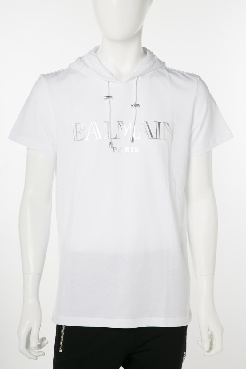 バルマン BALMAIN Tシャツ 半袖 パーカー メンズ RH11180 I057 ホワイト 送料無料 楽ギフ_包装 2019年春夏新作 【ラッキーシール対応】