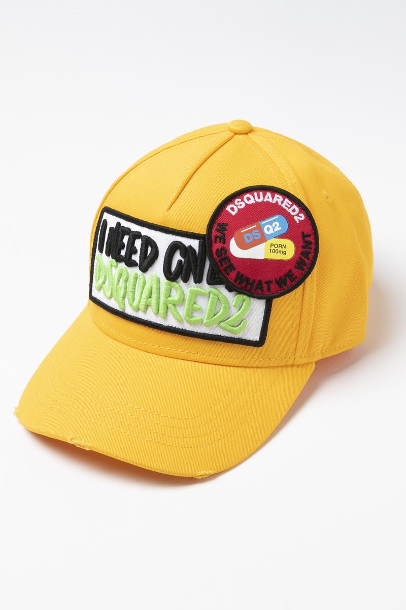 ディースクエアード DSQUARED2 キャップ ベースボールキャップ 帽子 BCM016405C00001 イエロー 送料無料 楽ギフ_包装 2019年春夏新作 【ラッキーシール対応】