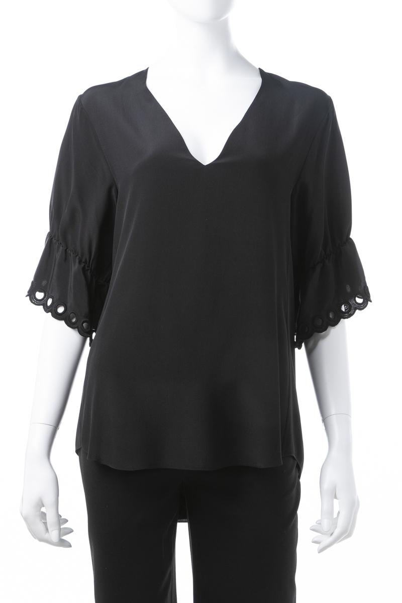 クロエ Chloe Tシャツ 半袖 Vネック レディース 17AHT82 17A004 ブラック 送料無料 楽ギフ_包装