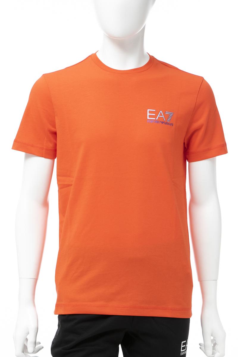 アルマーニ エンポリオアルマーニ Emporio Armani EA7 Tシャツ 半袖 丸首 クルーネック メンズ 3GPT49 PJJ6Z オレンジ 送料無料 楽ギフ_包装 【ラッキーシール対応】