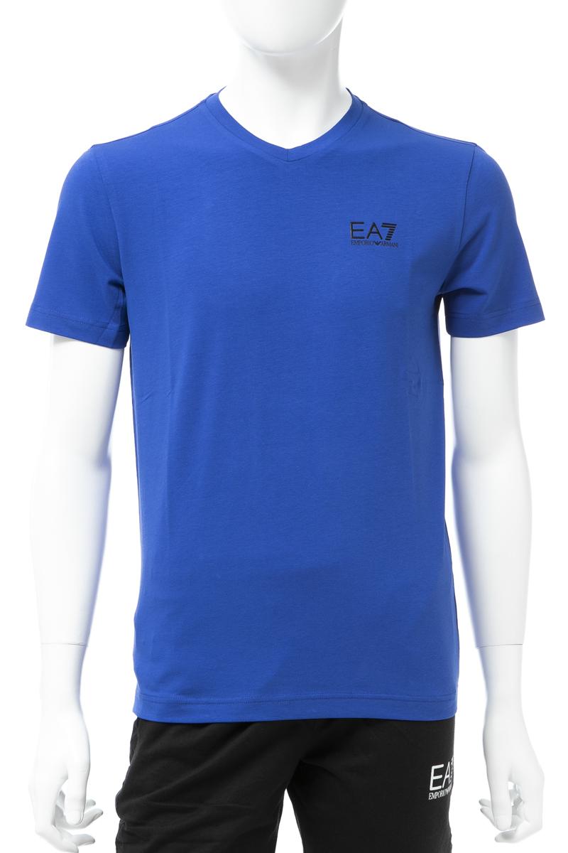 アルマーニ エンポリオアルマーニ Emporio Armani EA7 Tシャツ 半袖 Vネック メンズ 3GPT53 PJM5Z ブルー 送料無料 楽ギフ_包装 【ラッキーシール対応】