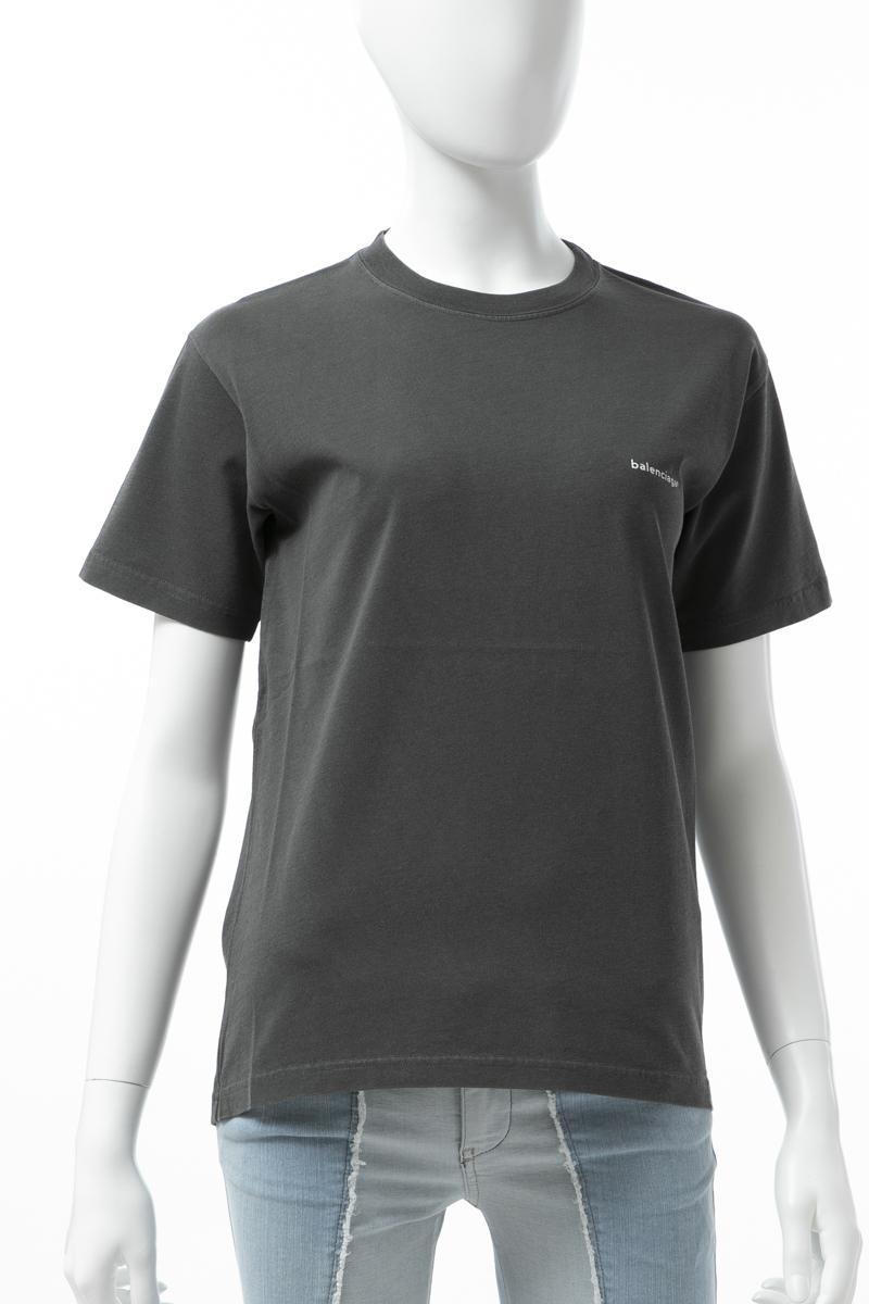 バレンシアガ BALENCIAGA Tシャツ 半袖 丸首 クルーネック レディース 556107 TYK28 ダークグレイ 送料無料 楽ギフ_包装 2019年春夏新作