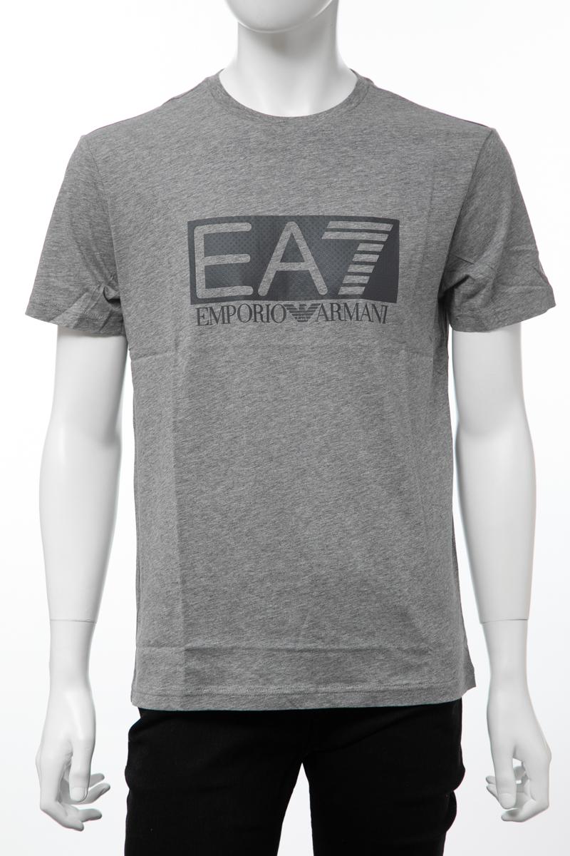 アルマーニ エンポリオアルマーニ Emporio Armani EA7 Tシャツ 半袖 丸首 クルーネック メンズ 3GPT81 PJM9Z グレー 送料無料 楽ギフ_包装 【ラッキーシール対応】