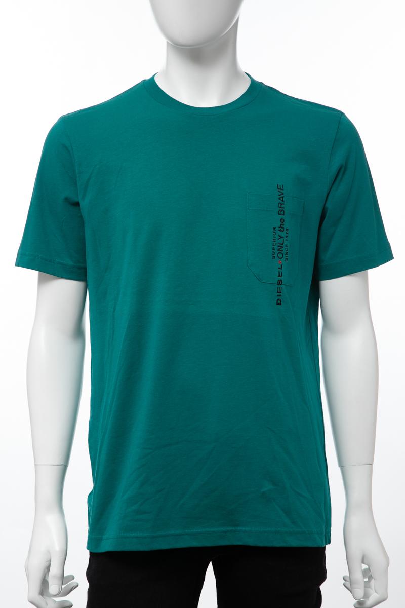 ディーゼル DIESEL Tシャツ 半袖 丸首 クルーネック T-JUST-POCKET MAGLIETTA メンズ 00SH13 0BASU グリーン 送料無料 楽ギフ_包装 【ラッキーシール対応】