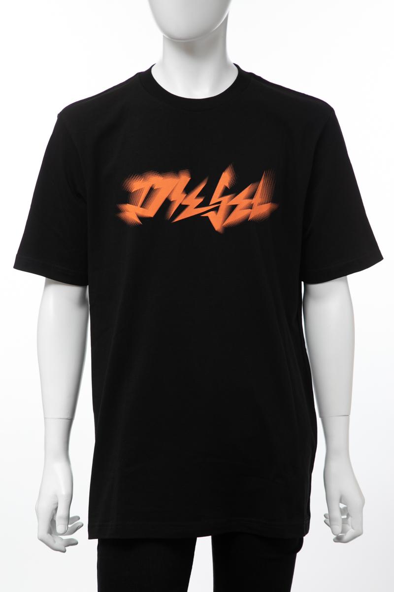 ディーゼル DIESEL Tシャツ 半袖 丸首 クルーネック T-JUST-XK MAGLIETTA メンズ 00SJ3L 0PATI ブラック 楽ギフ_包装 【ラッキーシール対応】