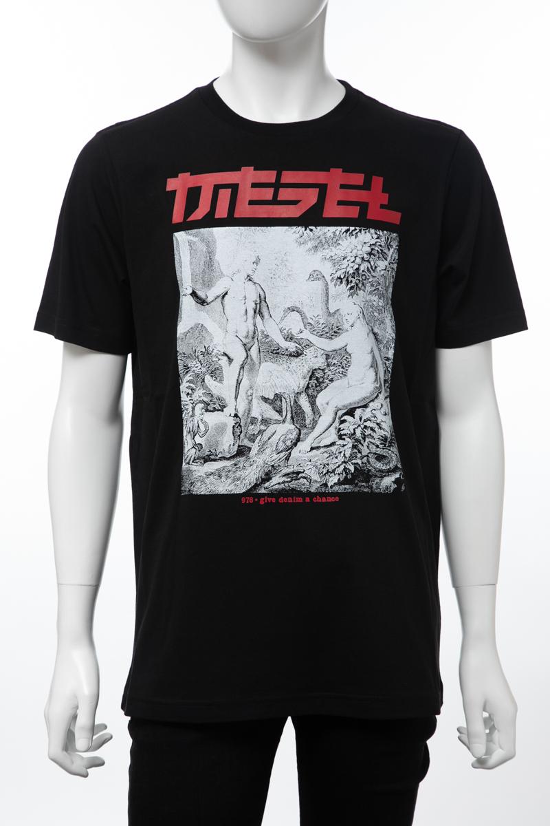 ディーゼル DIESEL Tシャツ 半袖 丸首 クルーネック T-JUST-XY MAGLIETTA メンズ 00SJ62 0BASU ブラック 送料無料 楽ギフ_包装 【ラッキーシール対応】