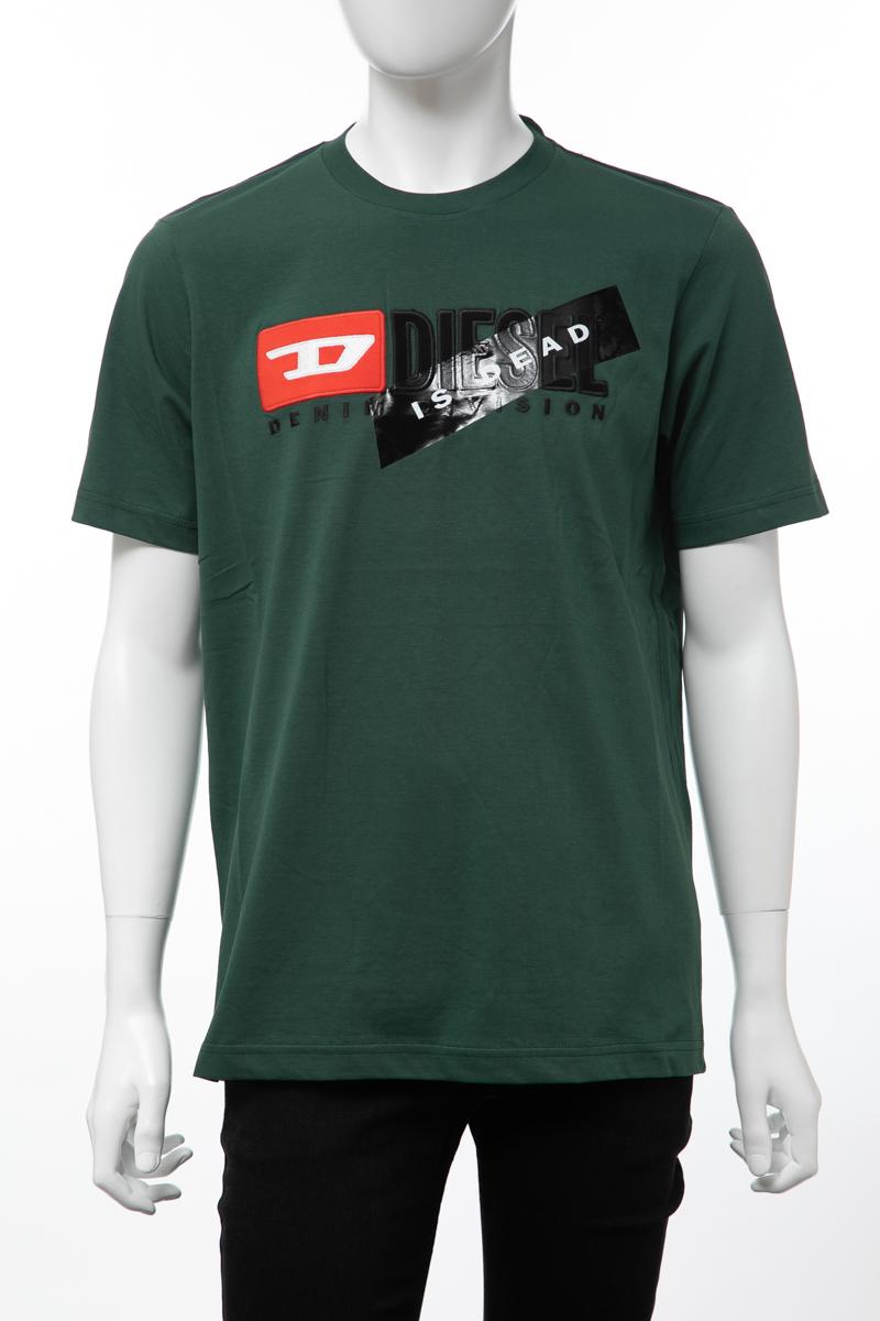 ディーゼル DIESEL Tシャツ 半袖 丸首 クルーネック HC-T-JUST-DIVISION-A MAGLIETTA メンズ 00SVFJ 0CATJ グリーン 送料無料 楽ギフ_包装 【ラッキーシール対応】