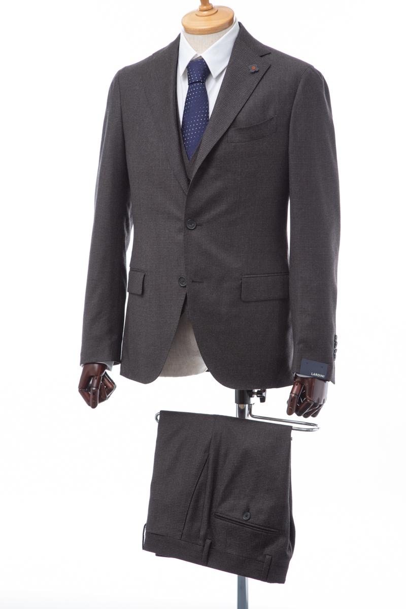 ラルディーニ LARDINI 3ピーススーツ シングル サイドベンツ ノッチドラペル メンズ IL0821AE OGA205 ブラウン 送料無料 2004値下げ