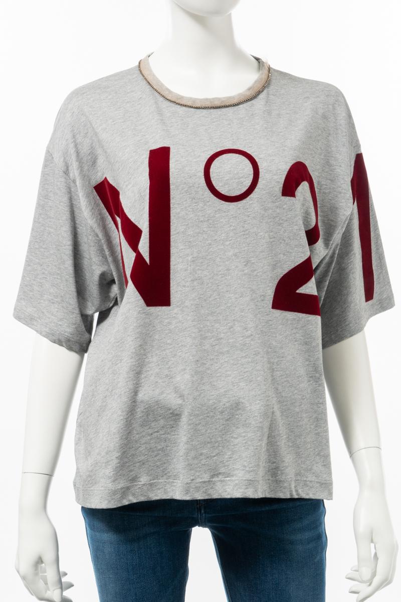 ヌメロヴェントゥーノ N°21 Tシャツ 半袖 丸首 クルーネック レディース F091 4157 189 グレー 送料無料 楽ギフ_包装