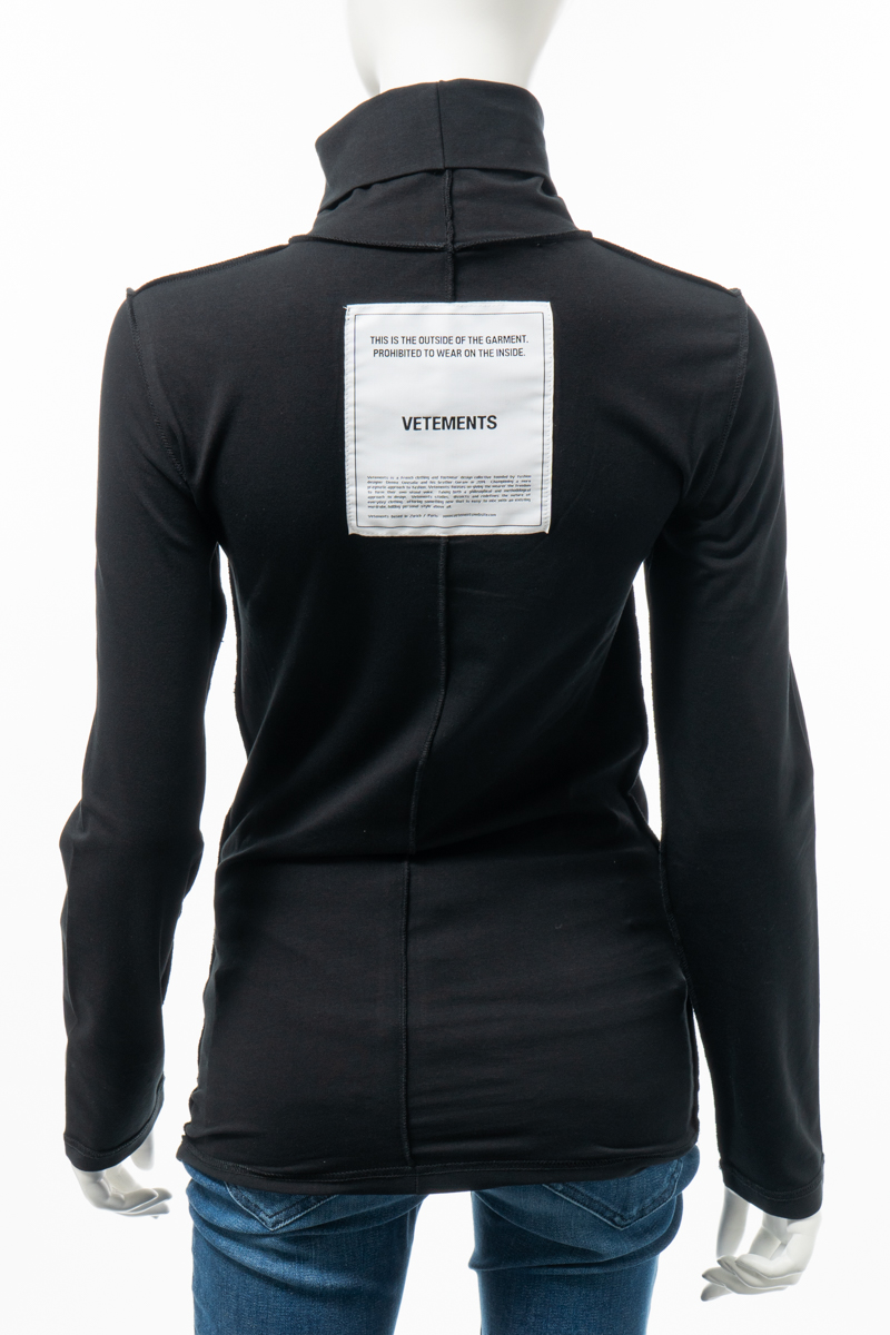 ヴェトモン Vetements ロングTシャツ ロンT 長袖 タートルネック ハイネック レディース WAH19TR103 ブラック 送料無料 楽ギフ_包装