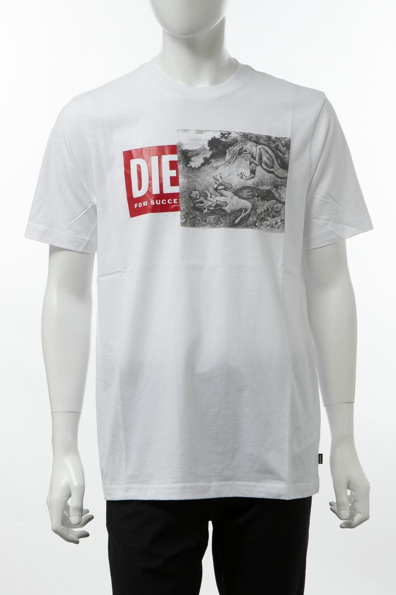 ディーゼル DIESEL Tシャツ 半袖 丸首 クルーネック T-JUST-XH MAGLIETTA メンズ 00SIEW 0091A ホワイト 送料無料 楽ギフ_包装 【ラッキーシール対応】