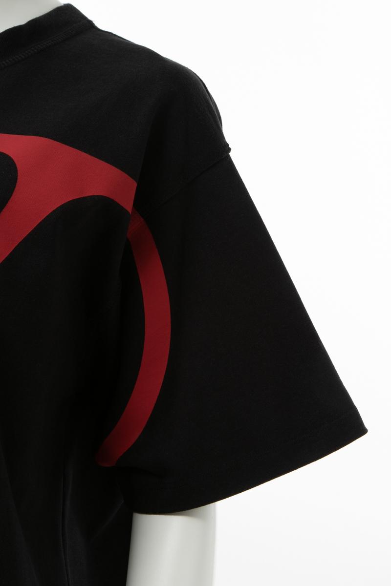 ヴァレンティノ Valentino Tシャツ 半袖 丸首 クルーネック オーバーサイズ レディース SB3MG01Y4Q1 ブラック×レッド 送料無料楽ギフ 包装 2019年秋冬新作CshdxQrt